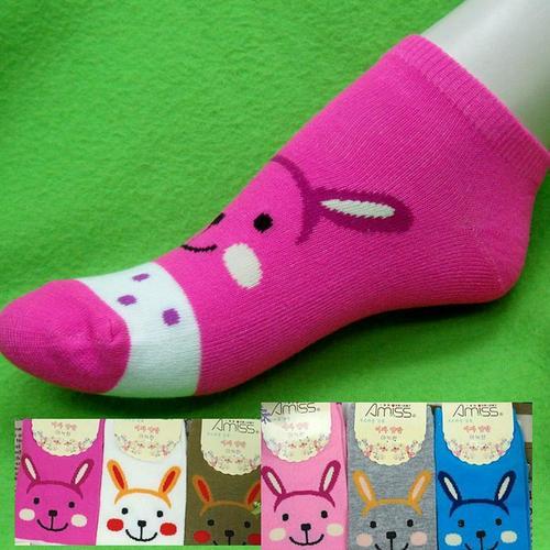 可愛兔子圖案,腳踝女短襪,不選色隨機出貨