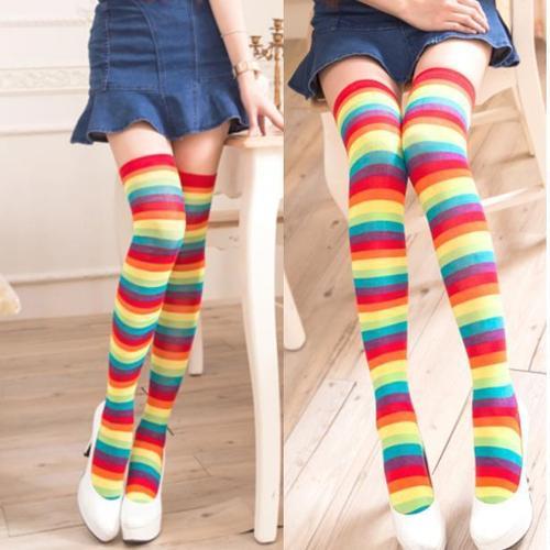 可愛水平條紋彩虹色超彈性纖維大腿襪長統襪