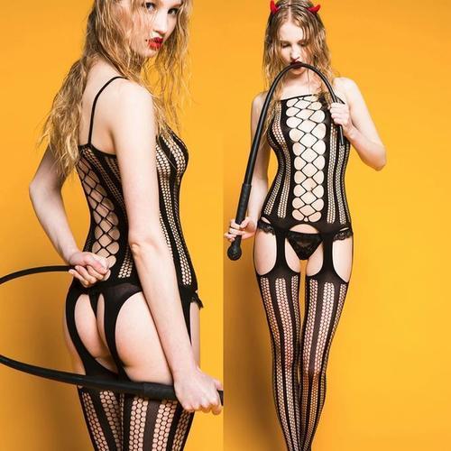 蜂巢狀網紋連身貓裝上衣吊襪帶式長筒襪合一設計,身體襪角色扮演裝