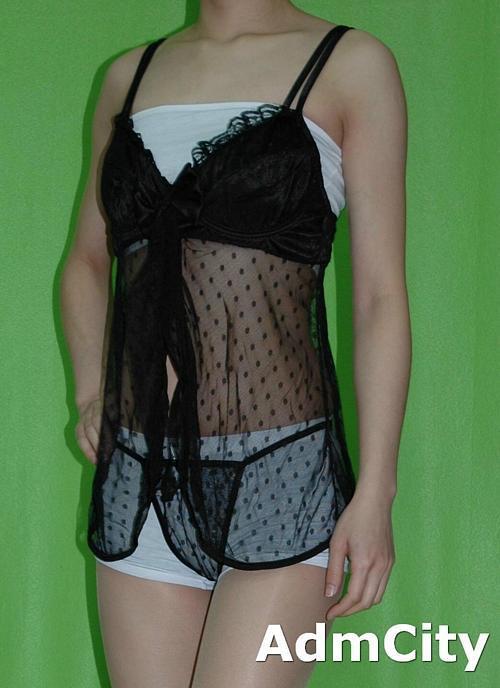 彈性細網 蕾絲 內建鋼絲 性感小夜衣 + 細線丁字褲.