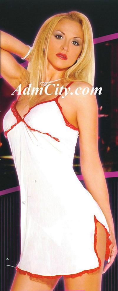 波浪型雷絲花邊的透明內衣, 採獨特托胸設計能集中您豐滿的胸部, 臀部的高岔剪裁更使您腿部的線條一覽無遺, 展現媚惑的女人風情.