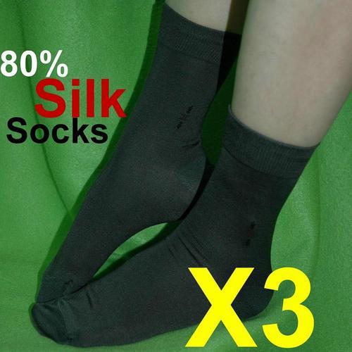 3雙特價款高級真絲 純蠶絲 男襪襪子 柔軟透氣日單出口歐美護膚日單 80%真絲含量