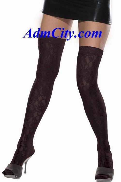 彈性蕾絲 不透明長統襪