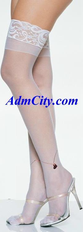 超彈性萊卡上端蕾絲, 心型腳鍊樣式透明大腿絲襪.