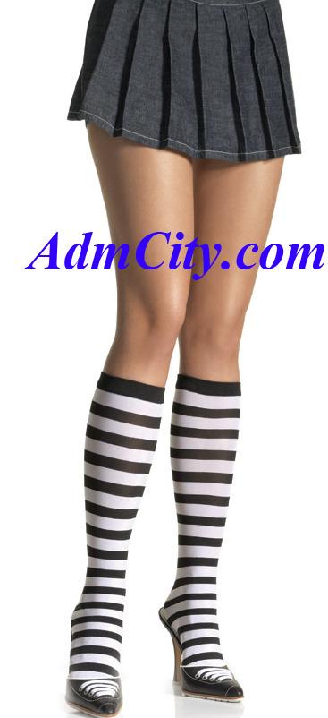 條紋膝蓋長度女襪 .