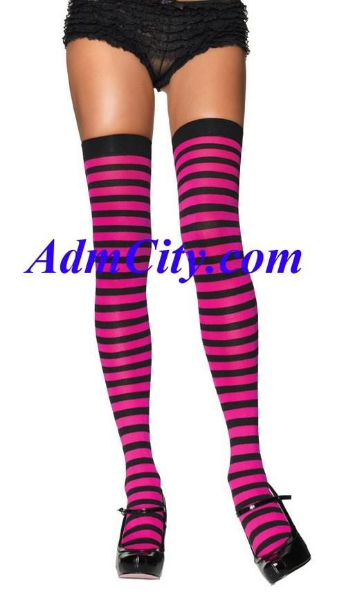 條紋的 長統襪.
