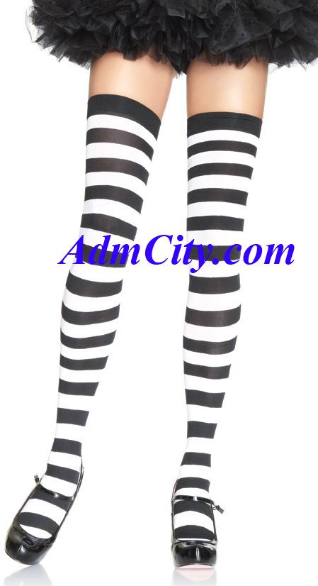 不透明薄霧 條紋的 大腿襪 .