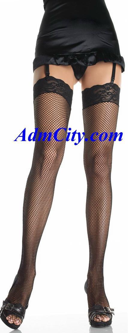 寬蕾絲邊魚網大腿絲襪長統襪.