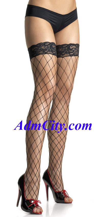 蕾絲 大網目 大腿網襪 長統網襪.