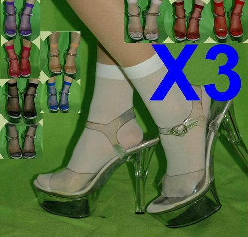 3雙半透型短襪糖果襪透膚黑肉紅粉各種顏色可選適合搭配各種鞋子高跟鞋平底都好看