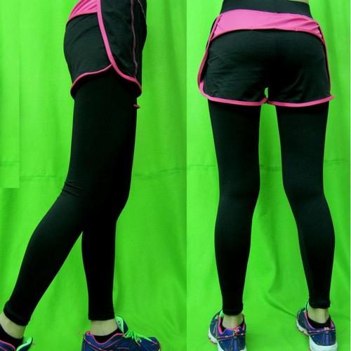 彈力運動褲內搭短褲合而為一纖瘦柔軟好看撞色設計適休閒瑜珈運動有氧跑步爬山體操