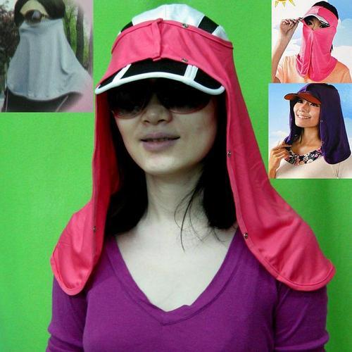 防曬頭巾帽巾面罩頭臉脖子肩膀防曬遮陽柔軟透氣適合搭配一般帽子多色可選