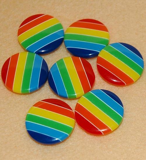 10顆,條紋縫紉鈕扣手工藝塑膠彩虹鈕釦