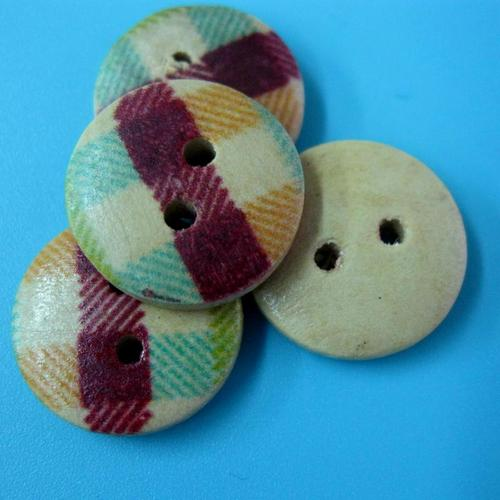 10顆,格紋兩孔縫紉鈕扣手工藝木質圓形鈕扣