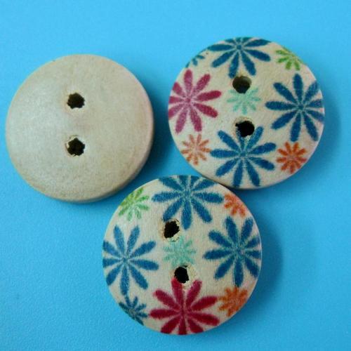 10顆,花紋縫紉鈕扣手山藝木質圓形鈕釦