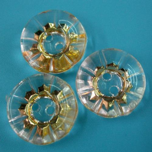 一包10顆, 透明15公厘 塑膠金色透明鈕釦