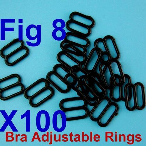 100個肩帶扣環內衣睡衣胸罩8字型扣環內尺寸10mm, 外尺寸13mm
