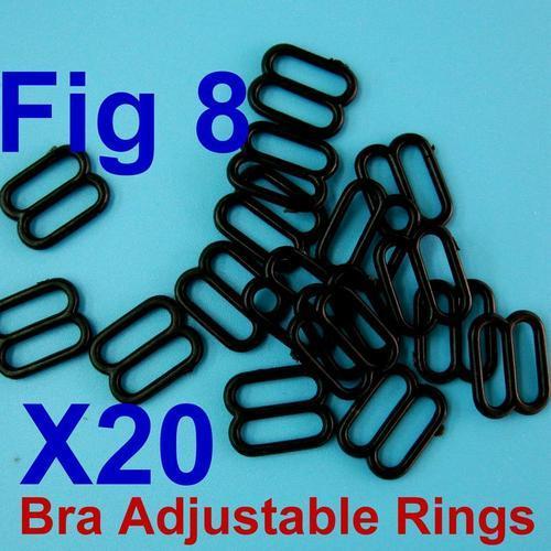 20個肩帶扣環內衣睡衣胸罩8字型扣環內尺寸10mm, 外尺寸13mm