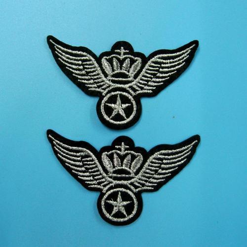 2片特價軍隊警察翅膀服飾配件DIY手工藝刺繡燙布/燙貼布/熨燙徽章/貼花