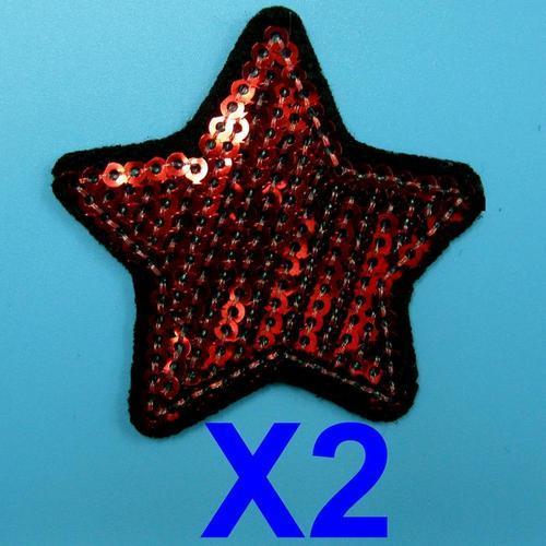 2片星星亮片服飾配件DIY手工藝刺繡燙布/燙貼布/熨燙徽章/貼花