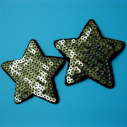2片星星亮片星星服飾配件DIY手工藝刺繡燙布/燙貼布/熨燙徽章/貼花