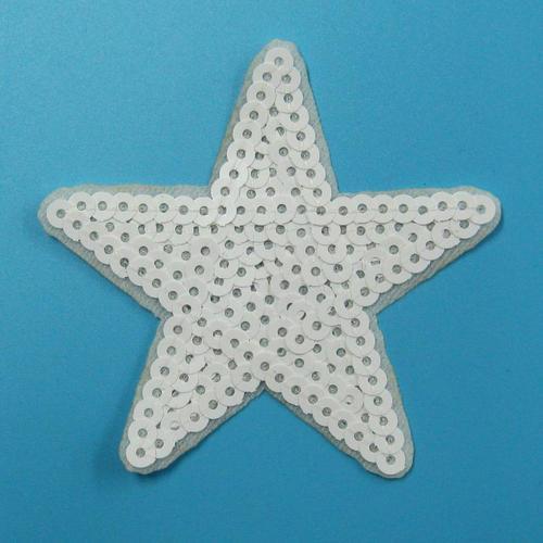 白色亮片星星服飾配件DIY手工藝刺繡燙布/燙貼布/熨燙徽章/貼花