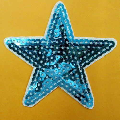 藍色星星亮片服飾配件DIY手工藝刺繡燙布/燙貼布/熨燙徽章/貼花
