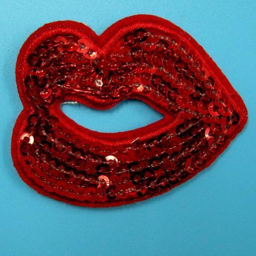 性感亮片紅色嘴唇服飾配件DIY手工藝刺繡徽章/貼花/需手縫