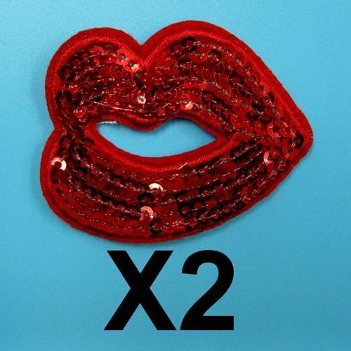 2片性感亮片紅色嘴唇服飾配件DIY手工藝刺繡徽章/貼花/需手縫