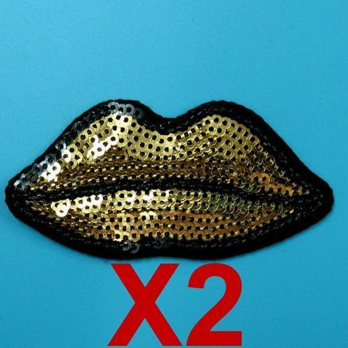 2片金色性感亮片嘴唇服飾配件DIY手工藝刺繡燙布/燙貼布/熨燙徽章/貼花
