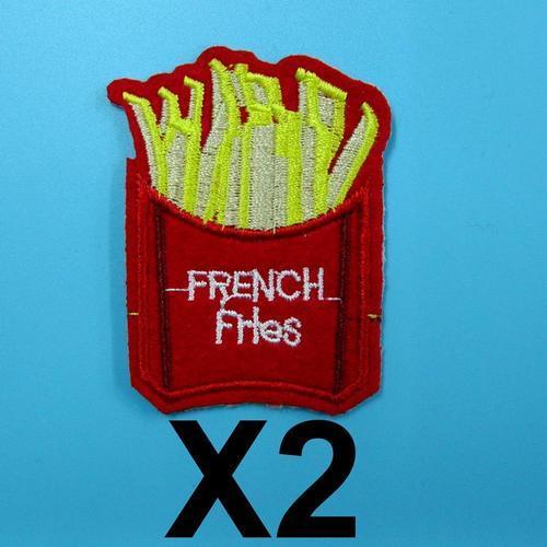 2片法國炸薯條服飾配件DIY手工藝刺繡燙布/燙貼布/熨燙徽章/貼花