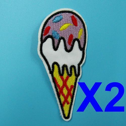 2片冰淇淋杯服飾配件DIY手工藝刺繡燙布/燙貼布/熨燙徽章/貼花
