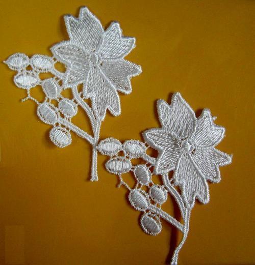 2片玫瑰花色葉狀服飾配件蕾絲洋裝DIY手工藝刺繡徽章/貼花/需手縫