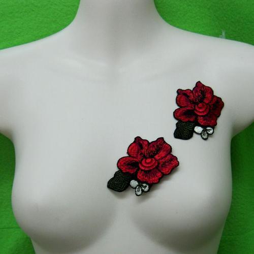 2片玫瑰花葉服飾配件洋裝DIY手工藝刺繡徽章/貼花/需手縫