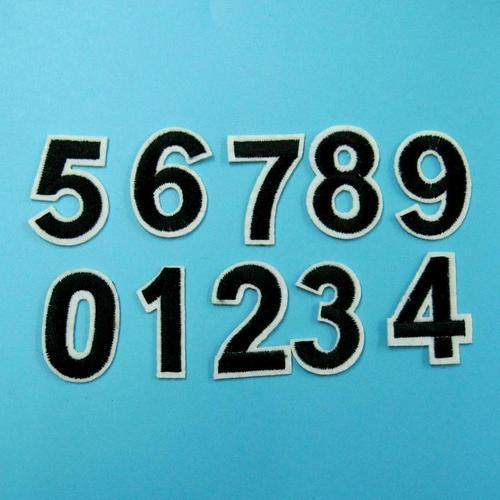 黑色數字0-9服飾配件DIY手工藝刺繡燙布/燙貼布/熨燙徽章/貼花