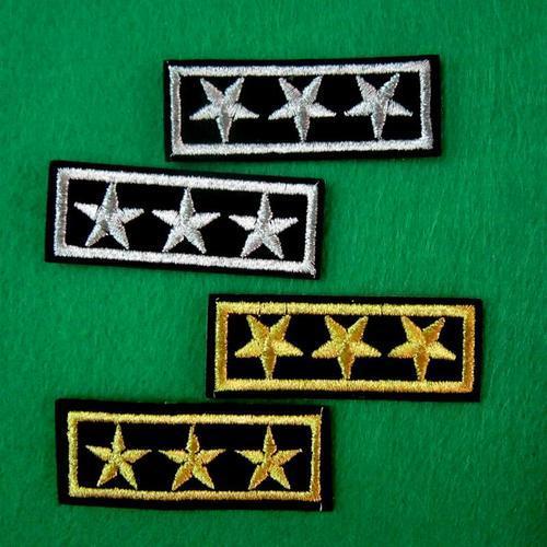 兩片軍隊警察官階服飾配件DIY手工藝刺繡燙布/燙貼布/熨燙徽章/貼花