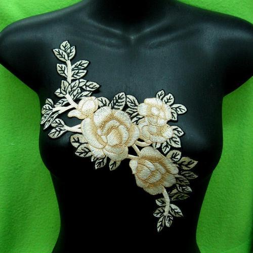 大玫瑰花色胸部服飾配件洋裝DIY手工藝刺繡徽章/貼花/需手縫