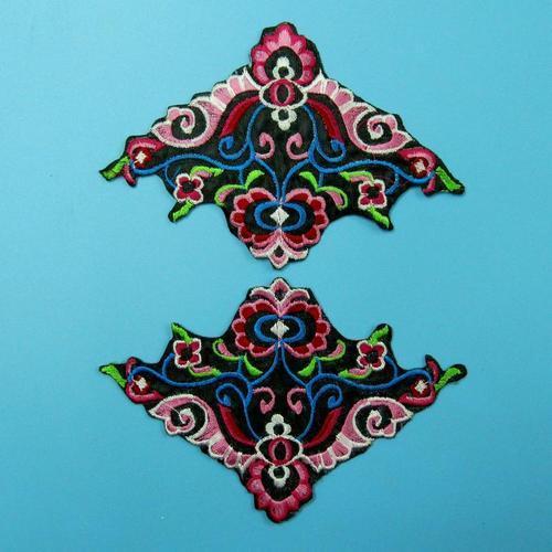 2片花色服飾配件DIY手工藝刺繡燙布/燙貼布/熨燙徽章/貼花