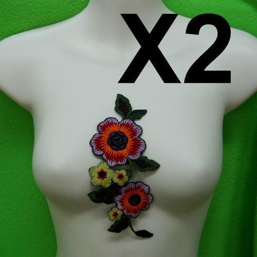 2片可愛玫瑰花色服飾配件DIY手工藝刺繡燙布/燙貼布/熨燙徽章/貼花