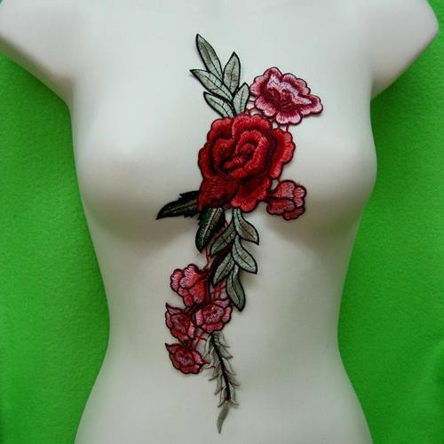紅玫瑰花服飾配件DIY手工藝刺繡徽章/貼花/需手縫