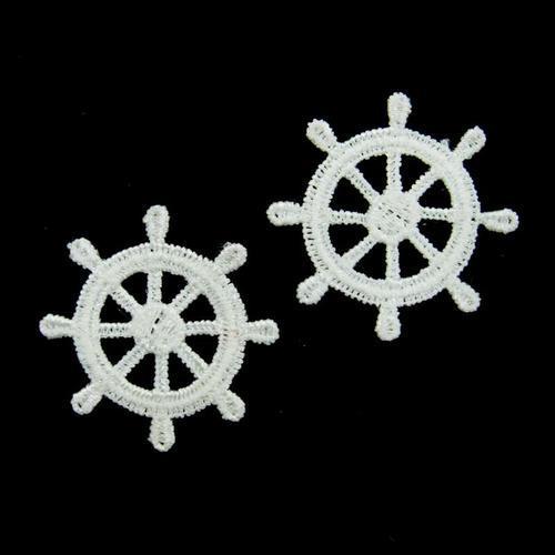 2個舵輪服飾配件DIY手工藝刺繡徽章/貼花/需手縫