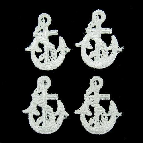 4個錨服飾配件DIY手工藝刺繡徽章/貼花/需手縫
