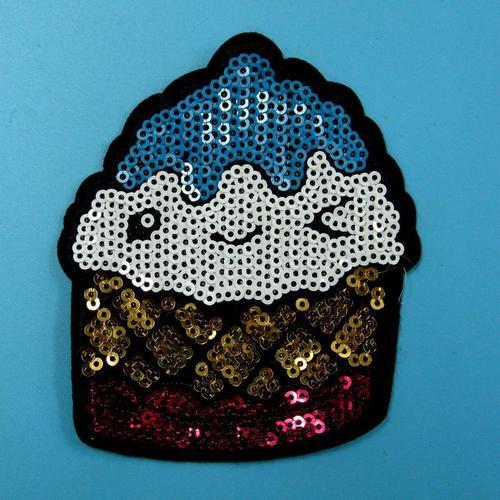 亮片冰淇淋服飾配件DIY手工藝刺繡徽章/貼花/需手縫