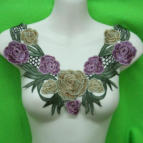 玫瑰花色服飾配件洋裝DIY手工藝刺繡徽章/貼花/需手縫