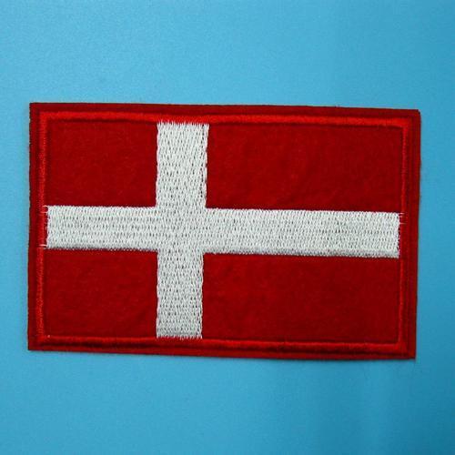 丹麥國旗貼片服飾配件DIY手工藝刺繡燙布/燙貼布/熨燙徽章/貼花