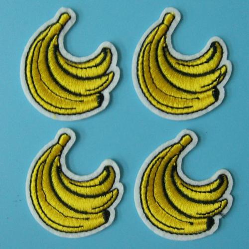 4片香蕉食物貼片服飾配件DIY手工藝刺繡燙布/燙貼布/熨燙徽章/貼花