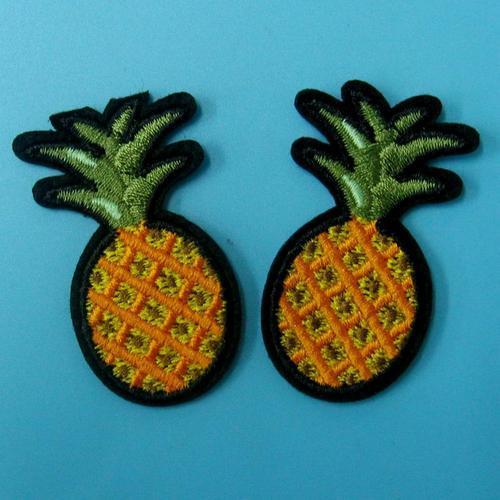 2個鳳梨服飾配件DIY手工藝刺繡燙布/燙貼布/熨燙徽章/貼花