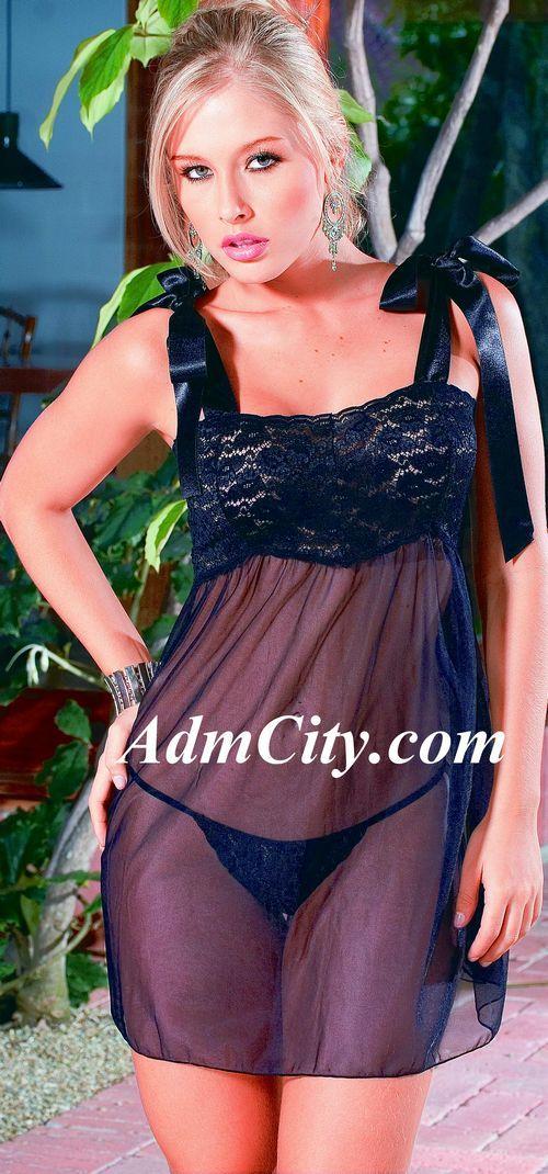 緞面綁式肩帶蕾絲透明薄紗性感小夜衣 + 蕾絲細線丁字褲.