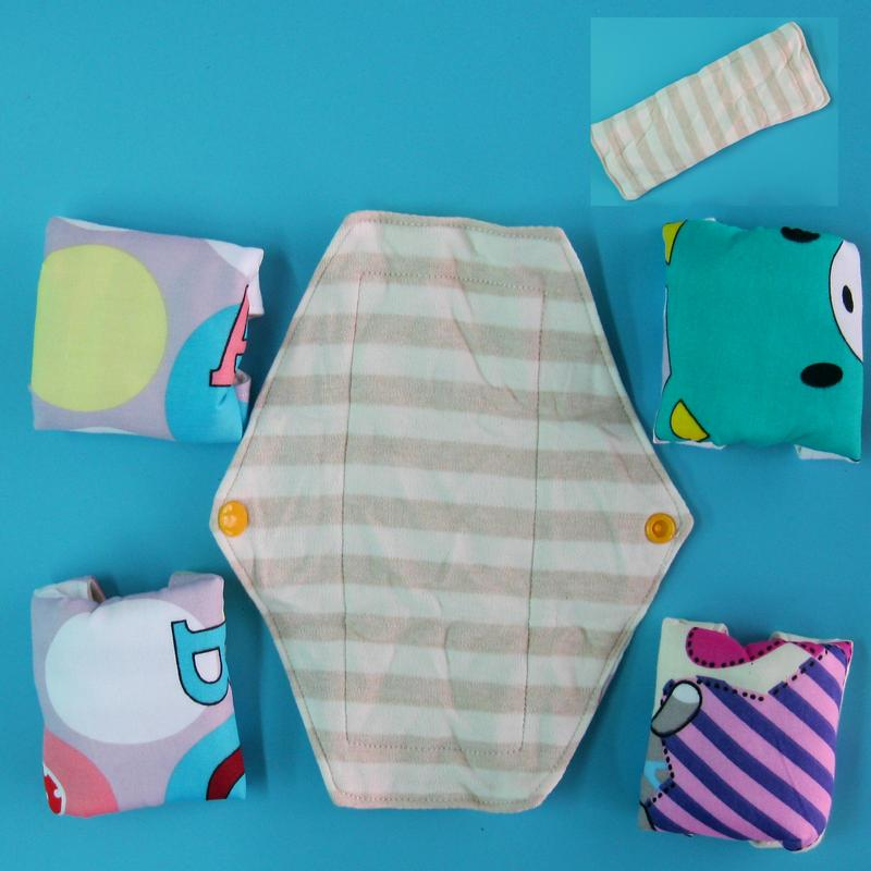 日用少量/一般/經其前後/漏尿 超級柔軟針織天然純棉布衛生棉21cm 防水手工製作 環保健康可水洗重複使用