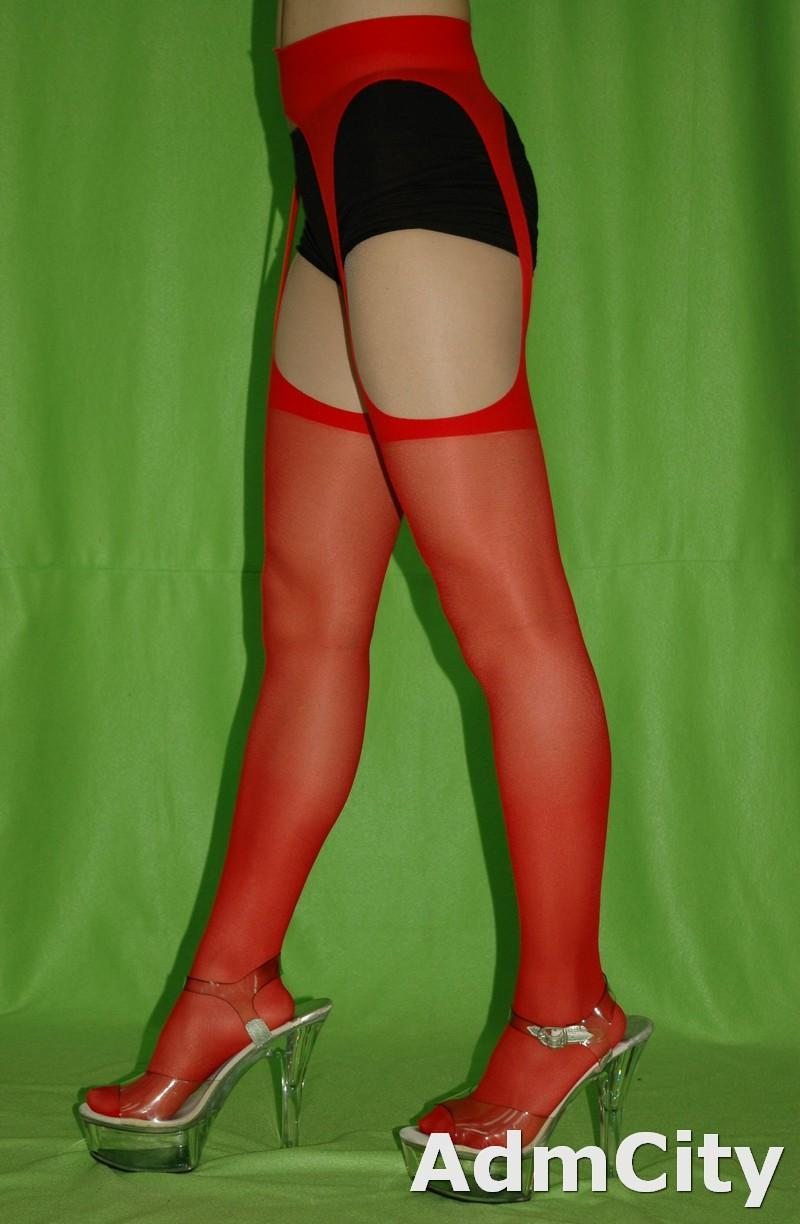 Something also Red sheer suspender pantyhose